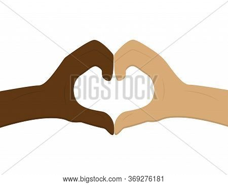 No To Racism. Heart Shape With Hands. Friendship Beetwen People. Stop Discrimination. Black And Whit