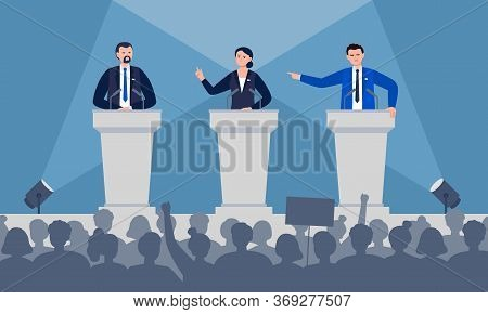Politicians Are Discussing On Stage. Debates Concept. Candidates Speech In Front Of The Crowd People