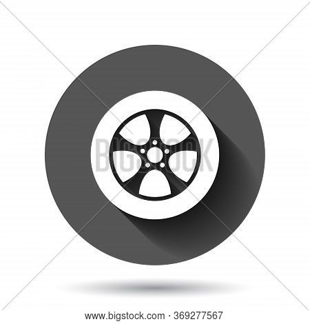 Car Wheel Icon In Flat Style. Vehicle Part Vector Illustration On Black Round Background With Long S