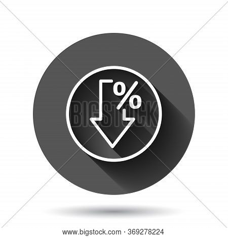 Decline Arrow Icon In Flat Style. Decrease Vector Illustration On Black Round Background With Long S