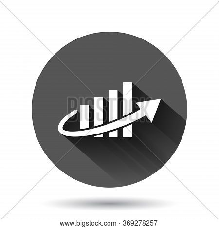 Growth Arrow Icon In Flat Style. Revenue Vector Illustration On Black Round Background With Long Sha