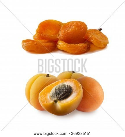 Ripe And Dried Apricots. Fresh And Dried Apricots Isolate On White Background. Apricots And Dried Ap