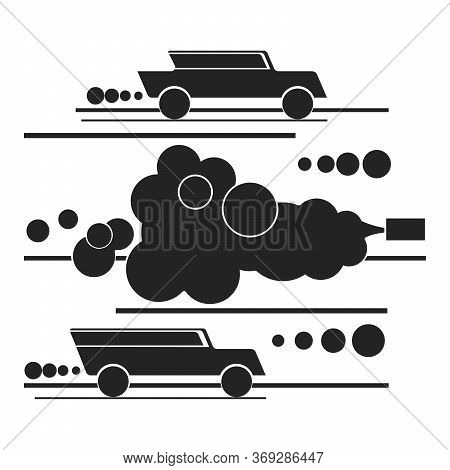 Motor Transport Exhaust Gases And Ecology Silhouette Flat Style, Vector Isolated On White Background