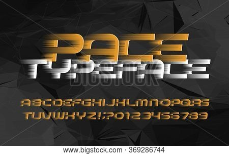 Pace Alphabet Font. Wind Effect Letters And Numbers. Abstract Background. Stock Vector Typeface For