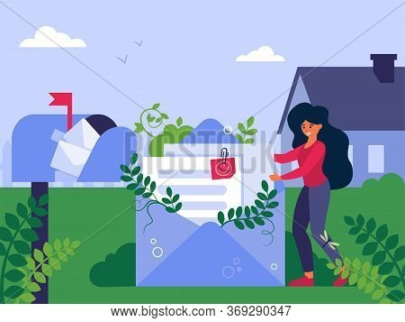 Woman Sending Resume Via Mail. Lady Standing At Envelope With Documents Nearby Mailbox Flat Vector I