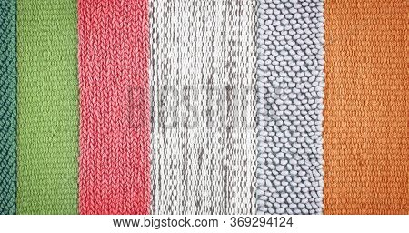 Colorful Striped Carpet As Background, Top View. Banner Design