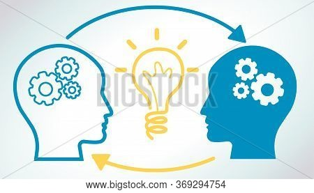 Communication, Study And Knowledge Sharing. Two Head Silhouettes With Settings And Arrows With Lumin