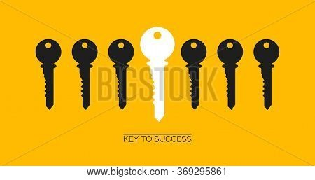 Success And Uniqueness Concept. White Key Standing Out Among Others On Yellow Background, Creative V