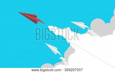 Business Concept Minimal Paper Plane In One Direction And With One Individual Pointing In The Differ