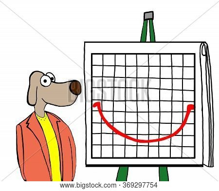 Color Cartoon Of A Business Woman Dog And A Smiley Face Report.