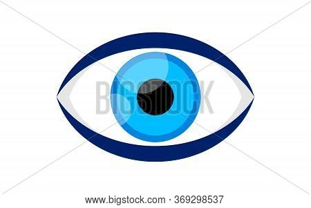 Eye Blue Icon Isolated On White, Illustration Eyeball Blue For Health Care Concept, Blue Eye For Gra