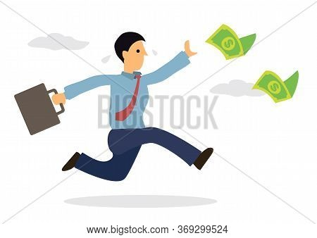 Businessman Chasing Money Flying In The Air. Cartoon Character Isolated On White Background. Vector