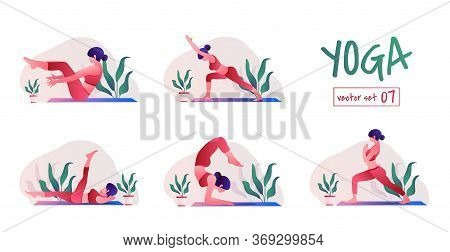 Yoga Girl At Home. Female Yoga Exercises. Relaxation And Meditation, Creative Poster Or Banner Desig