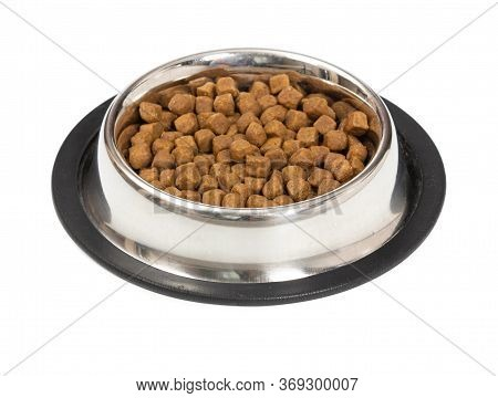 Metal Bowl With Dry Food For Cats Or Dogs Isolated On White Background.