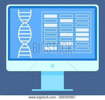 Dna Symbol And Geometric Icons, Screen Of Monitor With Spiral Object, Biotechnology In Wireless Devi