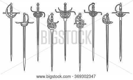 Set Of Simple Vector Images Of Epees And Rapiers With Decorative Hilts Drawn In Art Line Style.