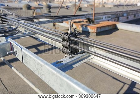 Russia, Saint-petersburg - April 30, 2018: Metal Ladder Trays With Power, Data, Optic And Ground Cab