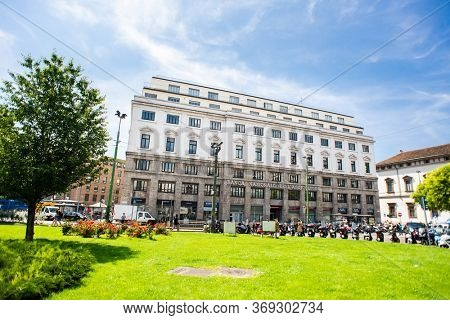 Milan. Italy - May 21, 2019: Facade of National Bank of Agriculture in Milan. Banca Nazionale del Agricoltura. Piazza Fontana.