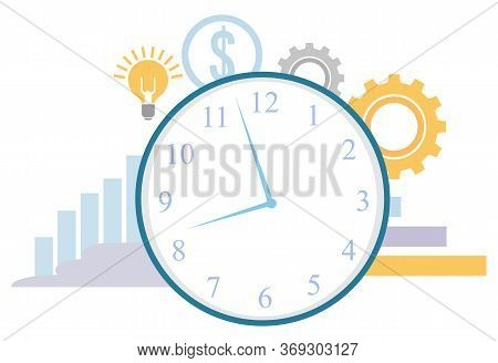 Clock Time Management Vector, Isolated Infocharts Growing Stats. Flat Style Cogwheels And Dollar Cur