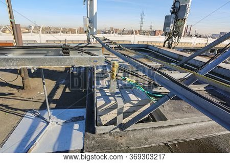 Russia, Saint-petersburg - April 30, 2018: Ground Cables Of Base Transceiver Station Bts Are Install