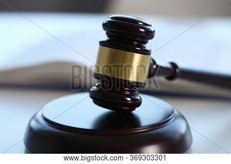 Professional Judge Using Special Thing While Knocking On Wooden Support And Proclaiming A Judgment