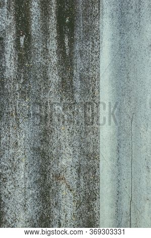 Old Gray Wavy Slate With Moss. Texture Of Asbestos-cement Slate Or Slate Slate With Place For Text.