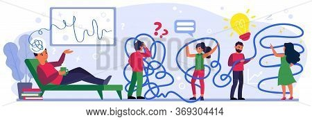 Tangled People Searching For Decision. Man Lying On Coach And Talking His Ideas Flat Vector Illustra