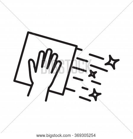 Cleaning Napkin Icon. Surface Wiping, Disinfection Vector Illustration