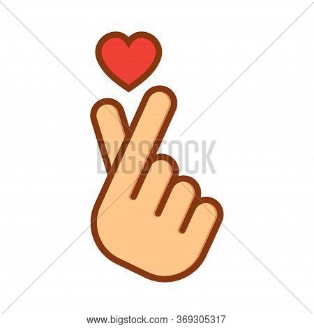 Korean Love Sign. I Love You Hand Gesture. Hand Folded Into A Heart Symbol. Vector Illustration