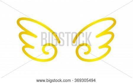 Angel Wings Icon Gold Isolated On White, Cute Cartoon Golden Wing Ornate, Clip Art Angel Wings Shape