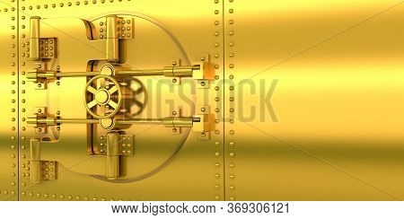 Gold Bank Door And Golden Wall. 3d Illustration