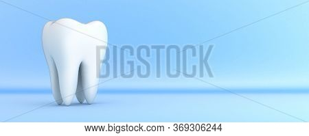 White Tooth On Blue Background. 3d Illustration