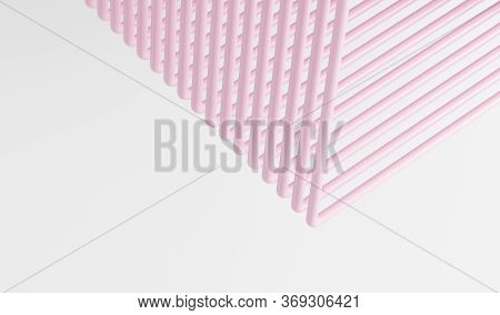 White Background With Pink Abstract Tubes, Abstract Background With Lines, Pink And White Striped Ba