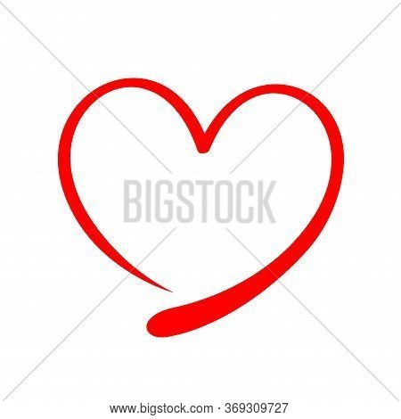 Heart Shape Doodle Red Line Isolated On White, Frame Heart Shape Art Line Sketch Brush For Valentine