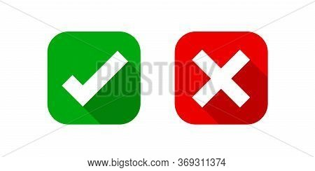 Check Mark And X Or Confirm And Deny Square Icon Button Flat For Apps And Websites Symbol, Icon Chec