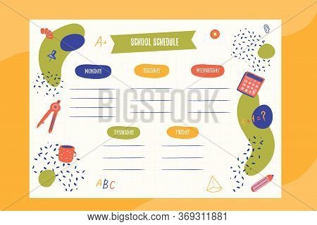 Hipster School Schedule Design Template With Elements. Vector Template. Calendar Daily Planner. Pape