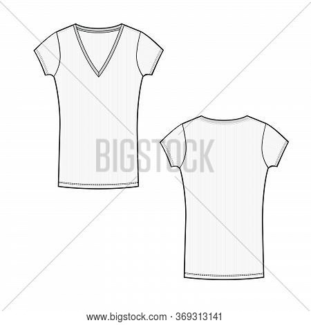 Vector Template With Short Sleeve And V Neck Line T Shirt Technical Sketch Of Front And Back Part. J