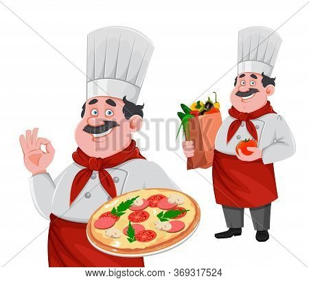 Handsome Chef Cartoon Character, Set Of Two Poses. Cheerful Cook In Professional Uniform Holding Piz