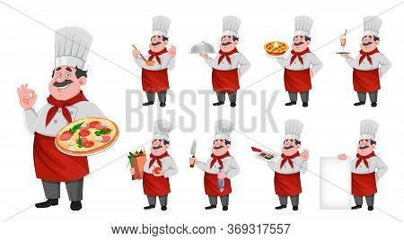 Handsome Chef Cartoon Character, Set Of Nine Poses. Cheerful Cook In Professional Uniform. Vector Il