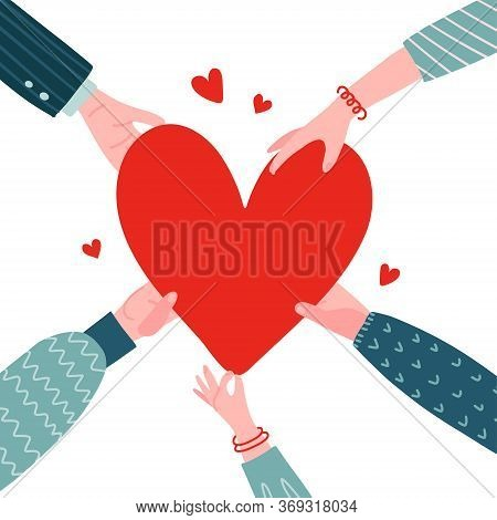 Concept Of Charity And Donation. Give And Share Your Love To People. Several People Hold Big Red Hea