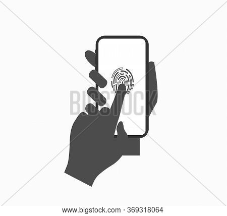 Fingerprint Scan On Smartphone Vector Icon Flat Design Isolated. - Process Of Scanning Fingerprint O