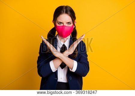 Close-up Portrait Of Her She Nice Attractive Serious Strict Brown-haired Girl Wearing Mask Showing C