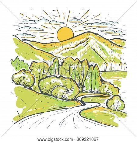 Sunset In The Valley With Mountains And Lush Green Meadows. Hand Drawn Color Sketch Vector Illustrat