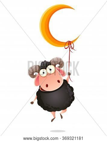 Eid Al-adha Mubarak. Traditional Muslim Holiday. Kurban Bayrami. Funny Cartoon Character Ram Hanging