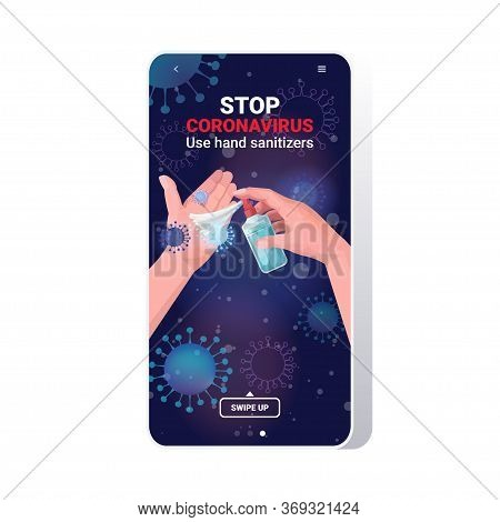 Human Hands Applying Antibacterial Spray Disinfection Stop Coronavirus Pandemic Quarantine Concept S