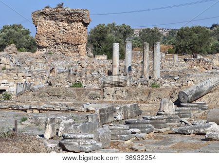 The Praetorium ancient Roman era ruins at Gortyna of Crete island in Greece. poster