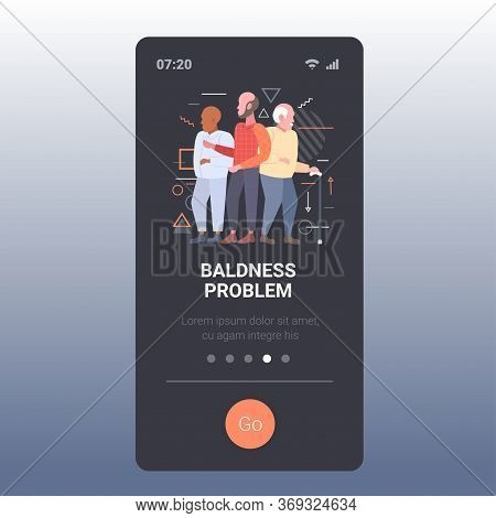 Men With Bald Head Standing Together Hair Loss Baldness Problem Concept Smartphone Screen Mobile App