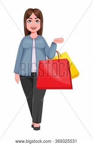 Happy Large Business Woman, Woman Of Plus Size Goes Shopping. Cheerful Chubby Businesswoman Cartoon