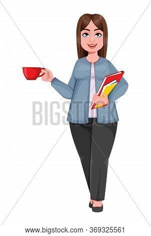 Happy Large Business Woman, Woman Of Plus Size Holding Coffee And Documents. Cheerful Chubby Busines