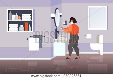 Woman In Face Mask Washing Hands With Soap Coronavirus Pandemic Prevention Concept Bathroom Interior